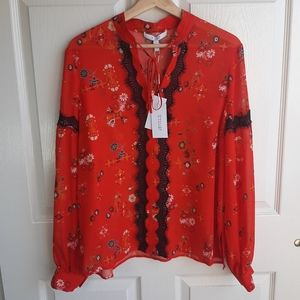 NWT Derek Lam 10 C Red Floral Silk Blouse Size 10